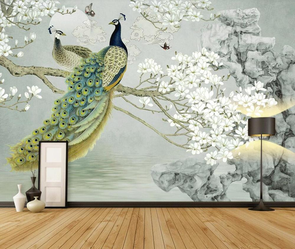 Custom photo mural wallpaper 3d new Chinese traditional painting white magnolia meticulous background wall