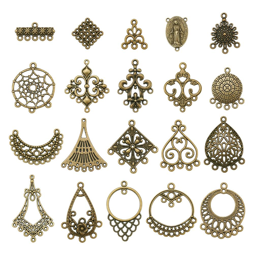 AliExpress - Tibetan Antique Bronze/Silver Color  Alloy Chandelier Components Links Charm For Dangle Earrings Necklace Jewelry Making