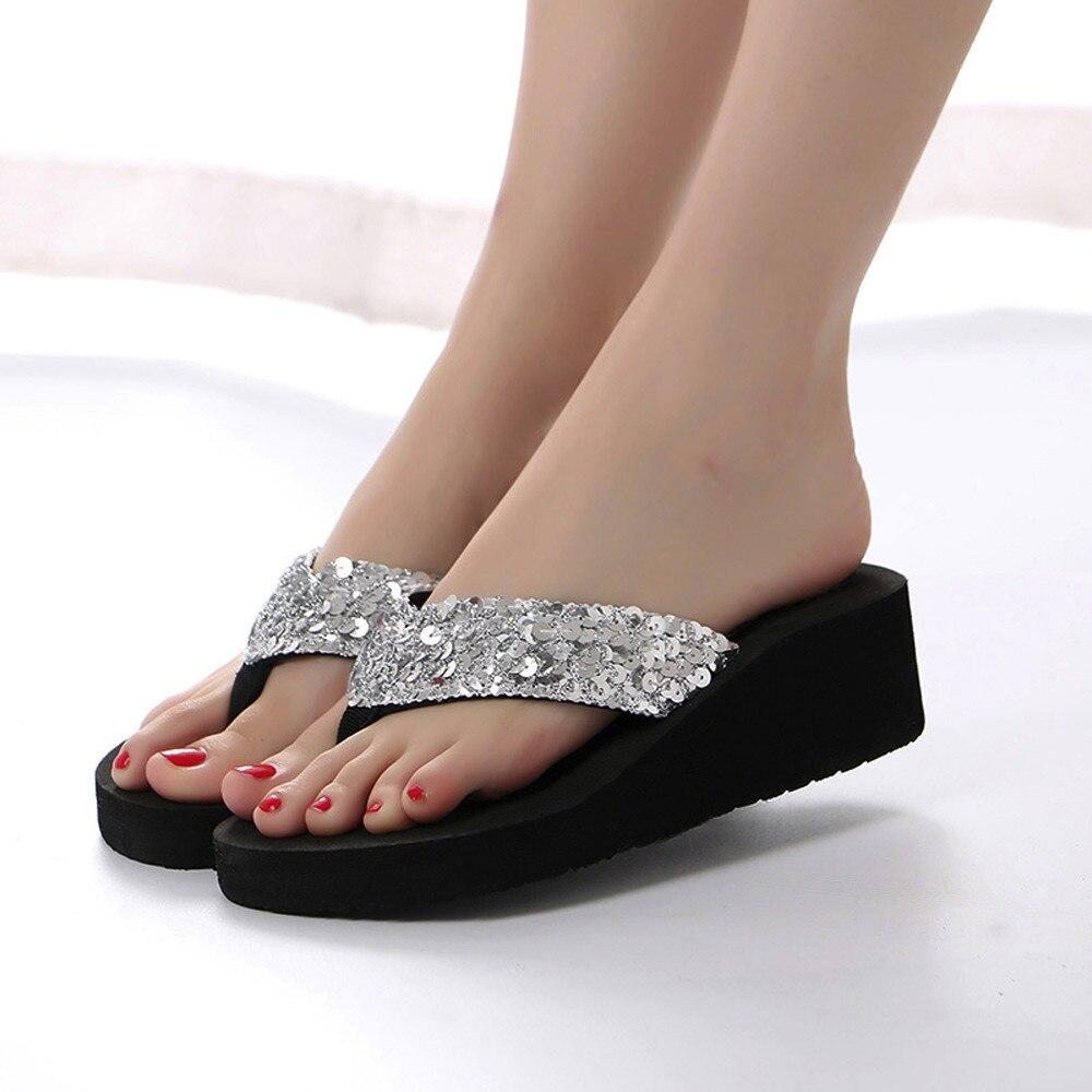 Best Selling 2020 Products Womens Summer Sequins Anti-Slip Sandals Slipper Indoor&Outdoor Flip-flops Flip Flops Chaussures