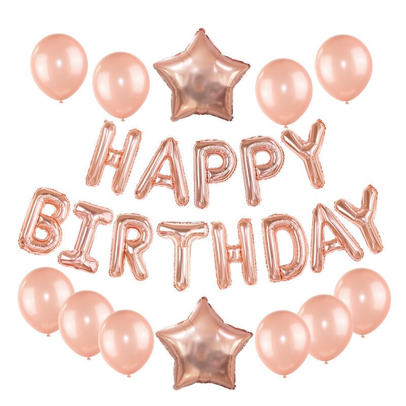 Rose Gold Balloons Wedding Birthday Party Decor Happy Letter Foil Balloon Baby Shower Anniversary Supplies