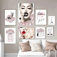 Decor a la maison mur Art toile peinture moderne mode Figure fleur photo nordique affiches et impressions pour chambre rose doux decor