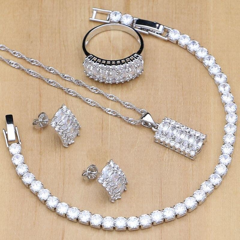 Наборы ювелирных изделий для невесты из натурального серебра с белым цирконием и кристаллом для женщин, серьги с подвеской, кольца, браслет, ожерелье, наборы