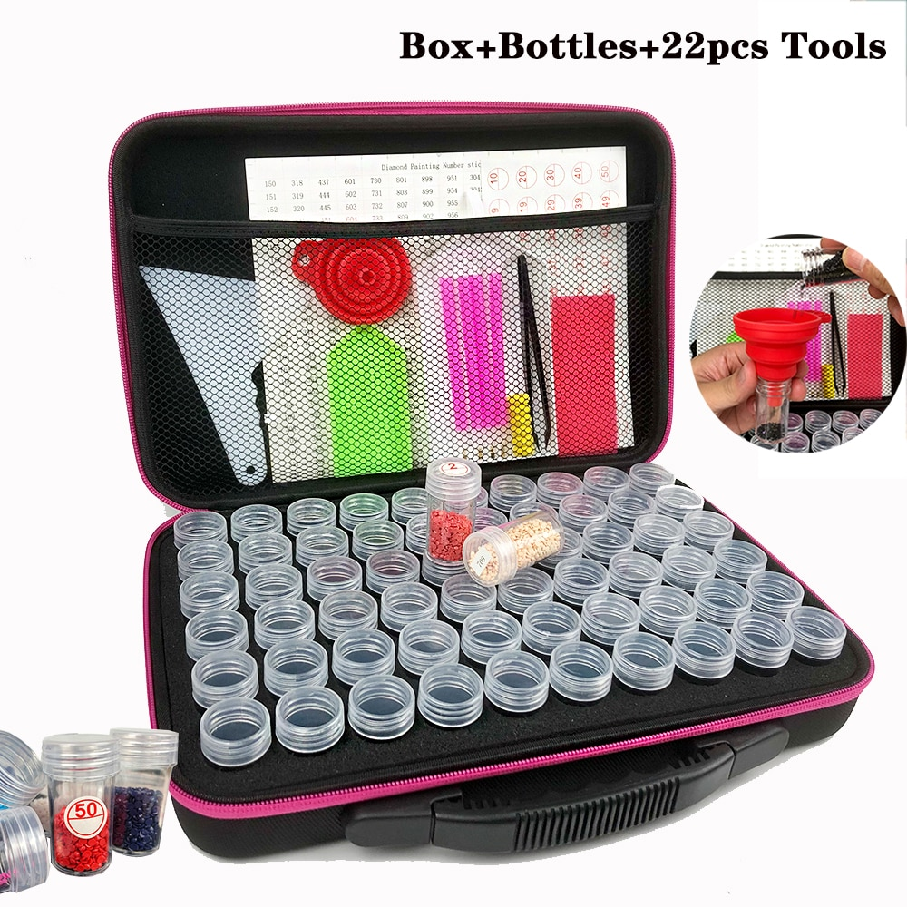صندوق تخزين طلاء ماسي 5D ، 30/60 زجاجة مع 22 قطعة من الأدوات ، ملحقات التطريز ، فسيفساء الحجر