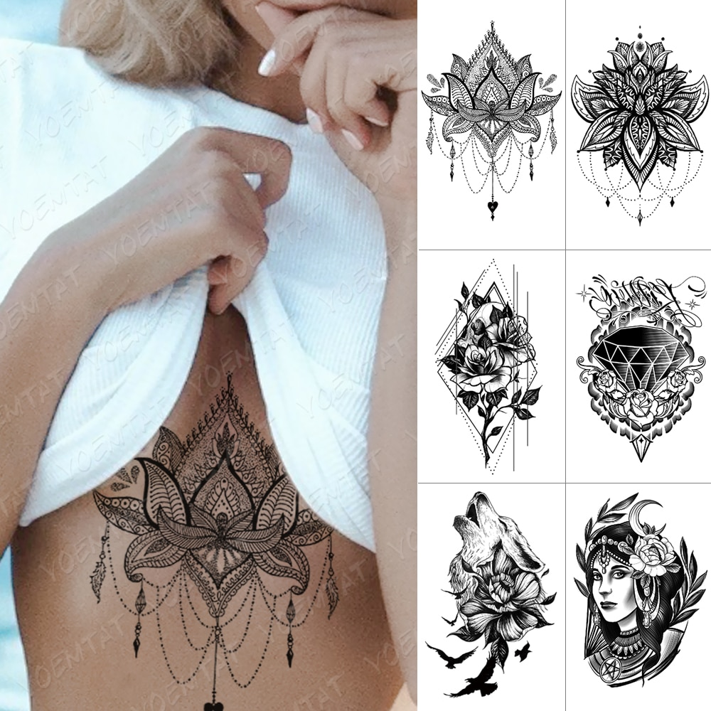 Tatuaje temporal impermeable pegatina lazo en el pecho mandalas de Henna Flash tatuajes Lobo diamante flor cuerpo arte brazo tatuaje falso mujeres hombres