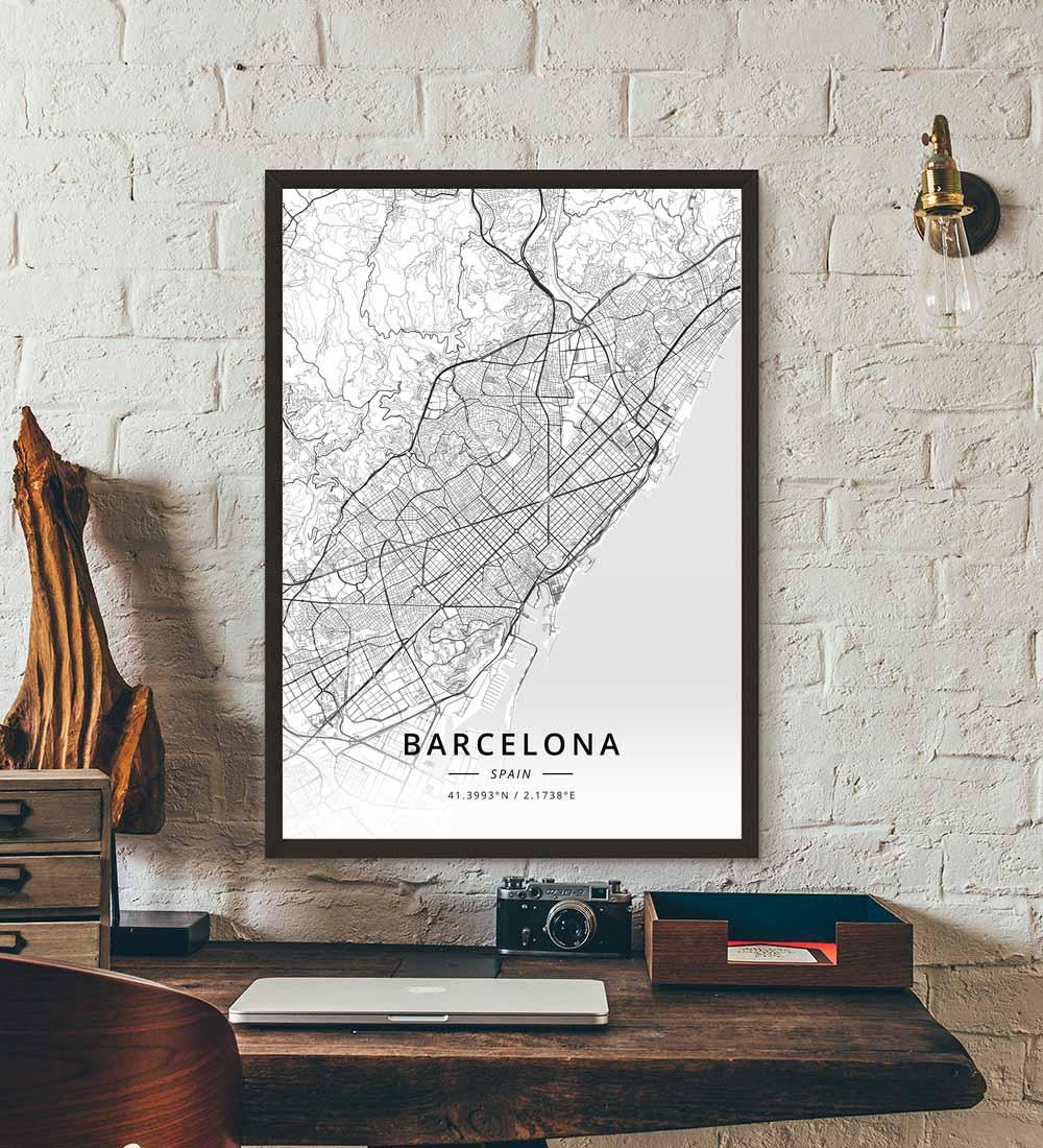 Póster con mapa de España y Barcelona