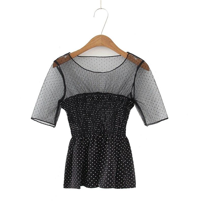 Camisa de chifón de manga corta con cintura definida con hombros descubiertos de lunares entretejidos de malla sexi de verano para mujer