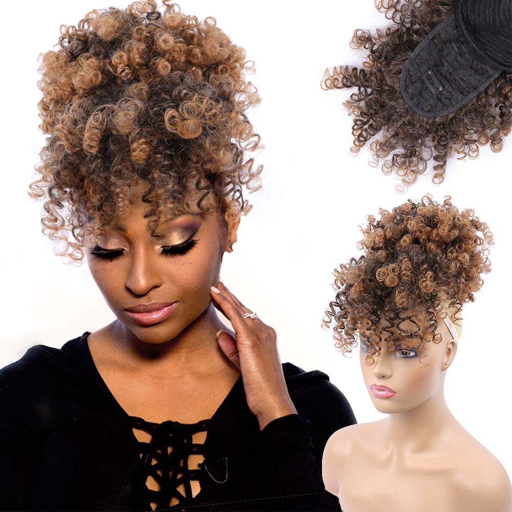 Drawstring High Puff Afro Kinky Curly ponytail with Bangs Hairpiece Short Wrap Synthetic ponytail Hair Extensions