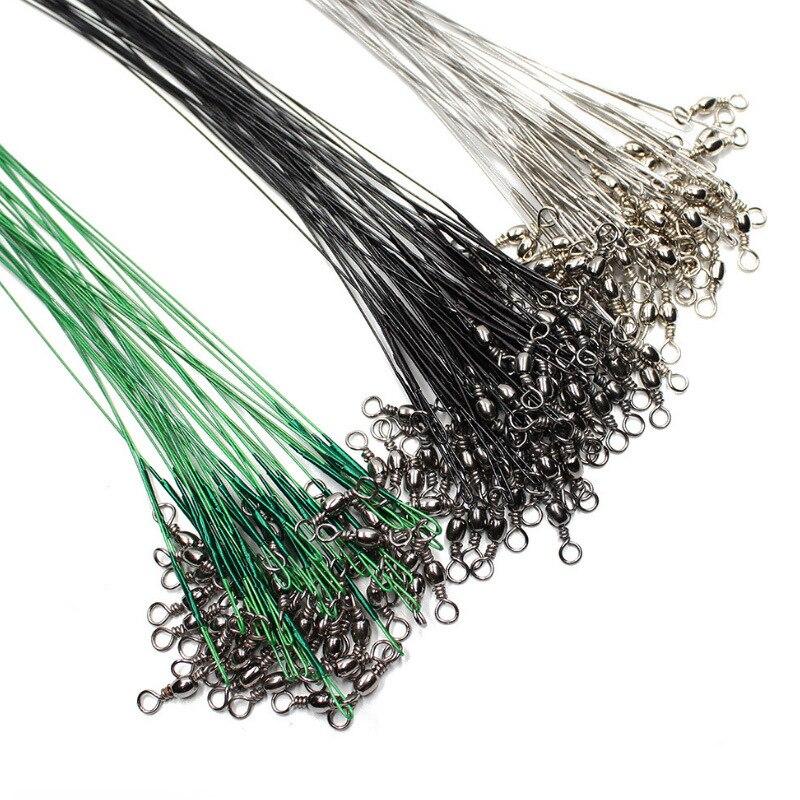 20 piezas de hilo de pesca de acero Anti mordida, líder de alambre de acero con accesorio de pesca giratorio, correa de núcleo de plomo, alambre de pesca 15cm 20cm 30cm