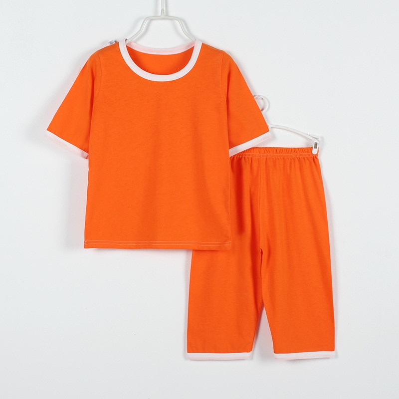 Spring summer Children's home clothes Pure cotton breathable boys and girl thin pajamas suit Simple