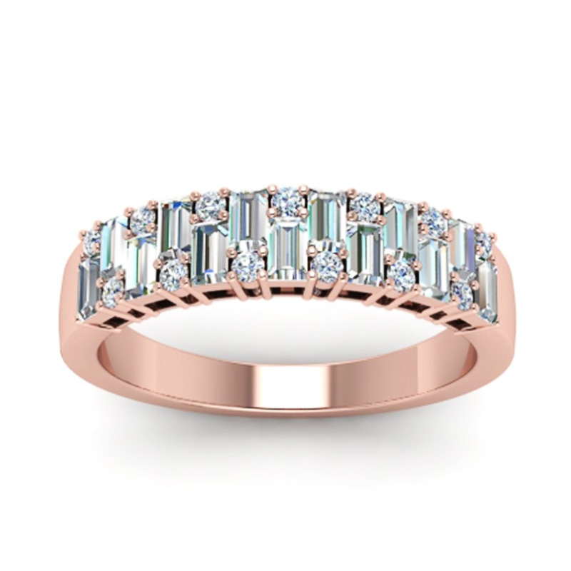 Yobest aaa zircon anéis de noivado para as mulheres cor de ouro rosa anéis de casamento feminino cristal austríaco jóias qualidade superior