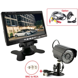 7inch Color LCD monitor support video in + 2.8mm lens 700TVL Color waterproof Night Vision Security CCTV Cmaera