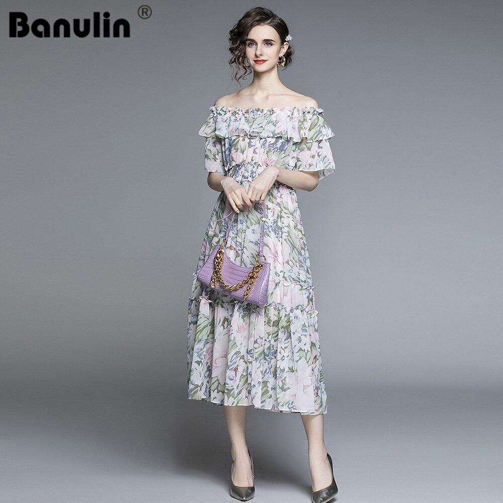 Women Vintage Chiffon Floral Dress Summer 2021 Runway Elegant Korean Party Fairy Boho Retro Casual Vacation Midi
