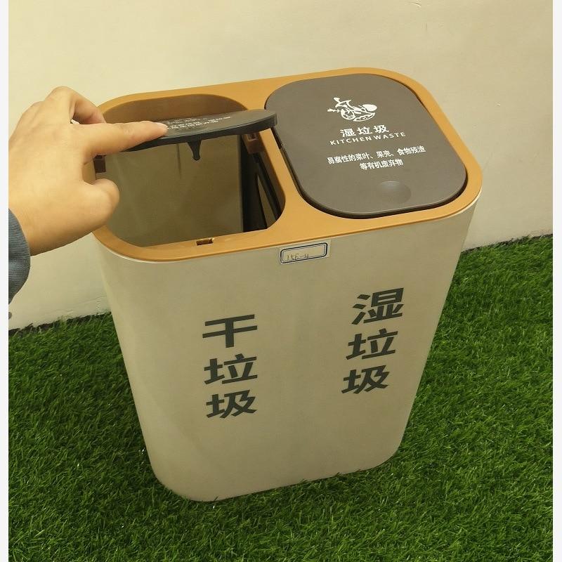Plastic Trash Can Bathroom Garbage Kitchen Storage Trash Can Garbage Sorting Modern Eco Rangement Cuisine Waste Bins BG50WB enlarge