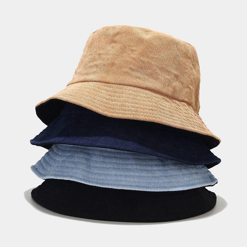 Autumn Winter Bucket Hat Solid Fisherman Hat Corduroy Sun Hat Reversible  Hip-Hip Cap Foldable Cheapu Hunting Hat Fishing Cap недорого
