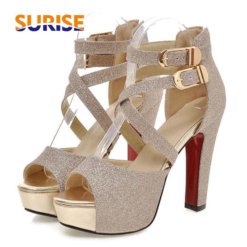 صندل نسائي بنعل سميك من الجلد اللامع ، حذاء كاجوال بكعب 12 سنتيمتر ، بإبزيم متقاطع ، ذهبي ، زفاف ، صيفي