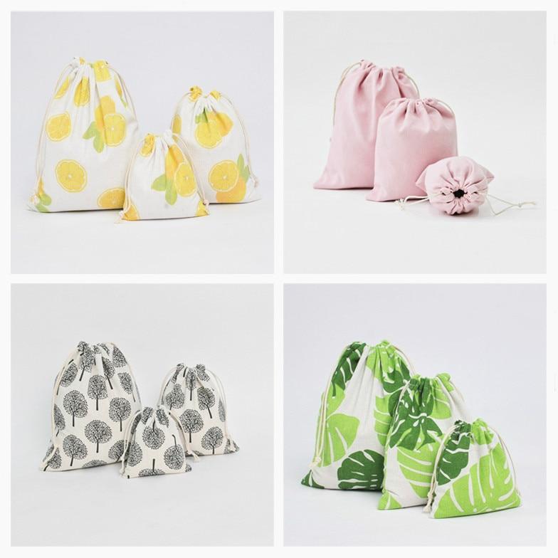4 farbe Casual Frauen Baumwolle Kordelzug Einkaufstasche Eco Reusable Falten Lebensmittelgeschäft Tuch Unterwäsche Pouch Fall Reise Hause Lagerung