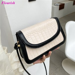Alligator Baguette Leather Shoulder Crossbody Bags for Women 2021 Contrasting Purses and Handbags Luxury Designer Sac A Main New