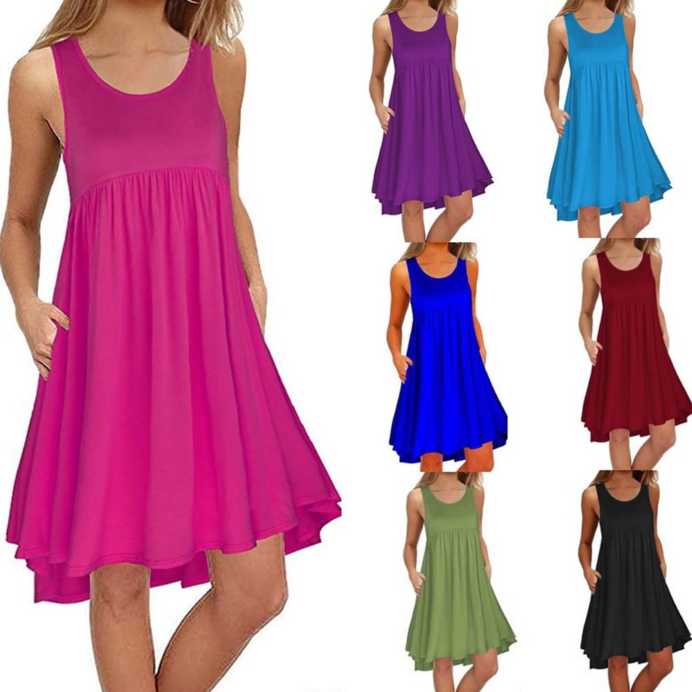 Black Dresses for Women Sleeveless Pockets Casual Dress Loose Multicolor Asymmetrical Hot Sale Knee Length High Low Female Dress sexy female latex dress mini exotic dresses hot sale