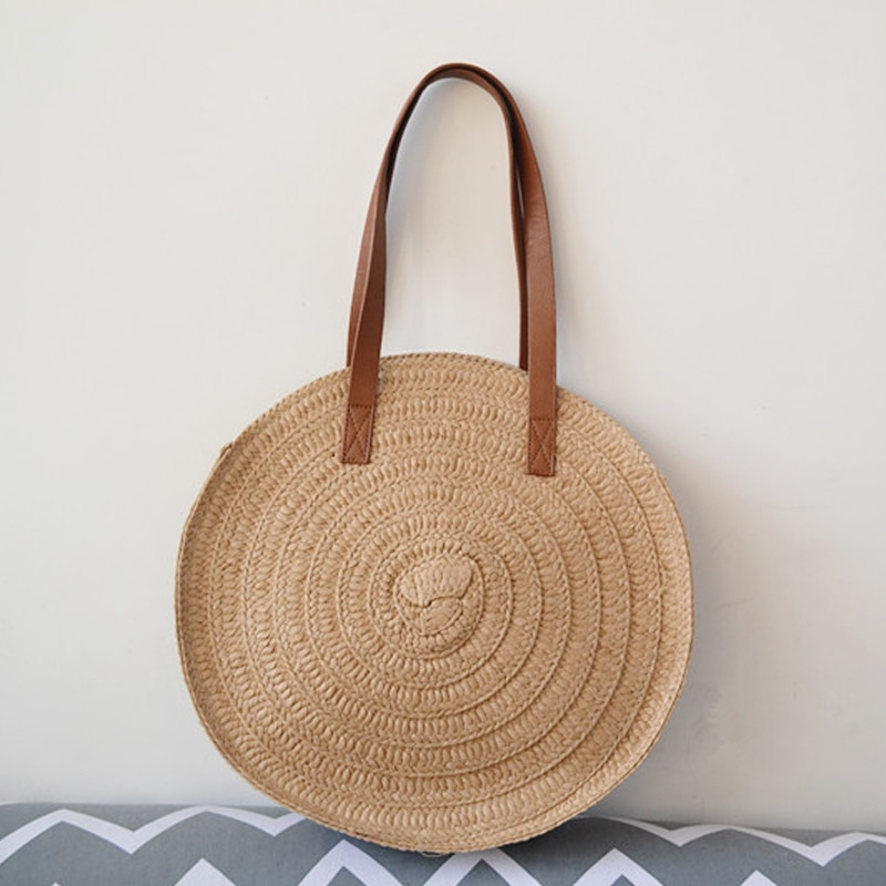 Bolso de paja trenzado Vintage, bolso de hombro, bolsos de playa de Vcation, bolso de hombro bohemio