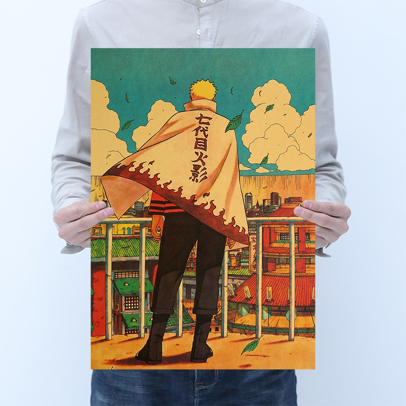 Uzumaki Naruto Septima generación dibujos animados de Naruto personaje impresión papel Kraft clásico Poster decoración del hogar pintura pegatinas de pared