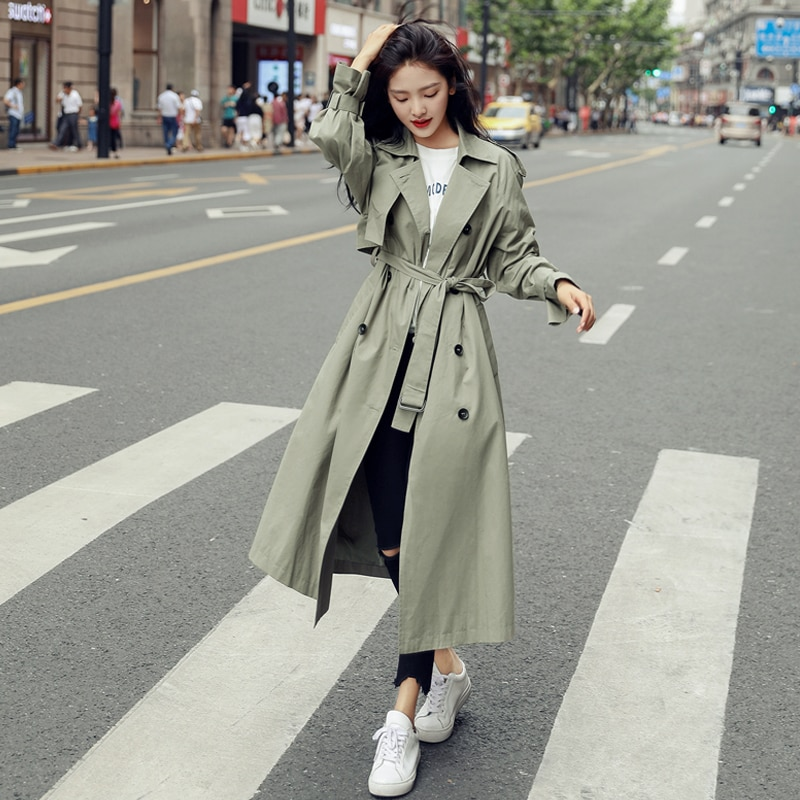 England Style Double-Breasted Long Women Trench Coat Belted with Flaps Spring Autumn Lady Windbreaker Duster Coat Female Clothes chic women s trench coat spring autumn belted short coat fashion slim fit double breasted short trench coat g092