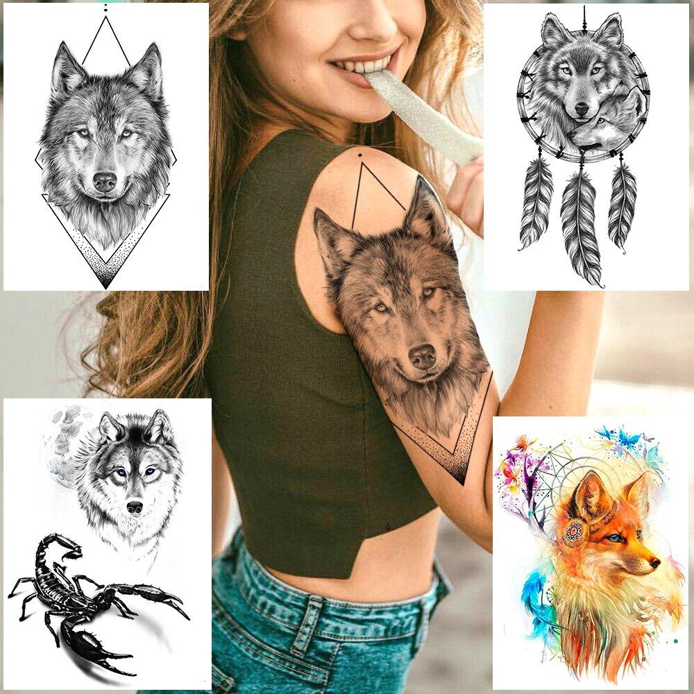 Tatuaje temporal de brazo de lobo rombo geométrico para hombres y mujeres, tatuaje de escorpión falso, pegatina impermeable de arte corporal con atrapasueños