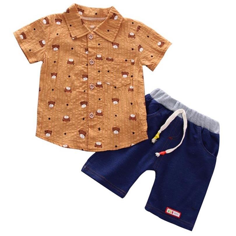 Camiseta Polo de manga corta y cuello vuelto con impresión de caricatura de oso para bebés y niños, conjunto de 2 uds.