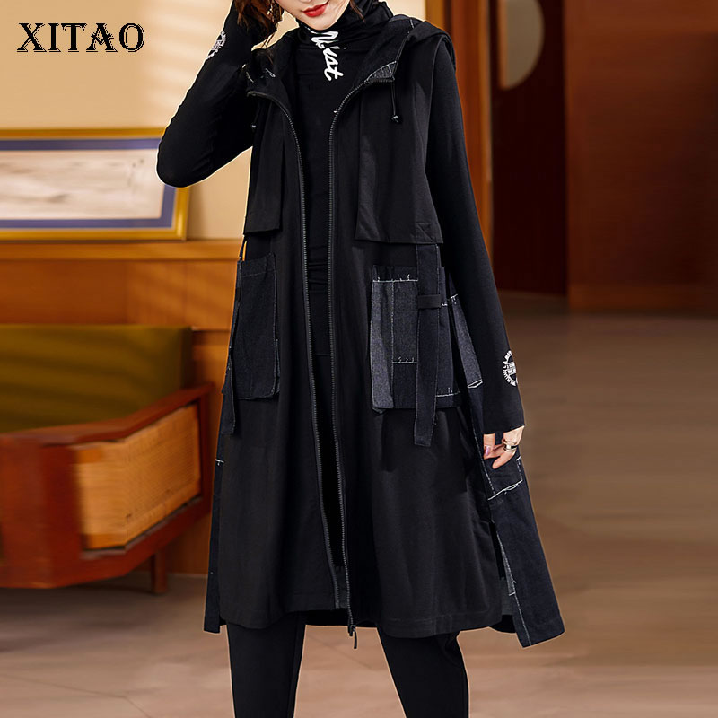 XITAO سترة سوداء للنساء موضة جديدة بلا أكمام جيب آلهة مروحة مطوي نمط 2021 الخريف الأقلية فضفاض سترة علوية GWJ0635
