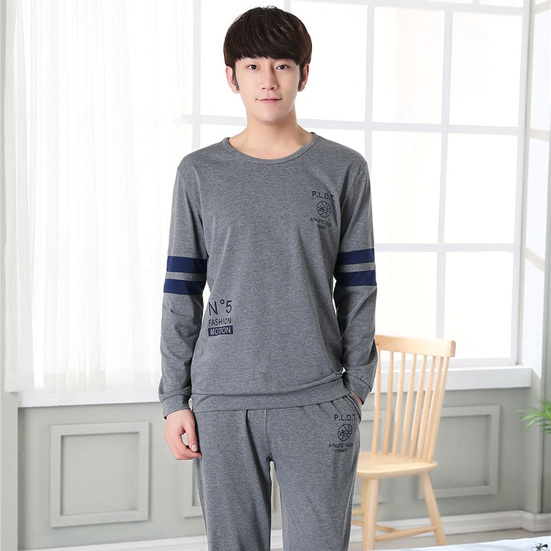 Высокое качество, домашняя одежда с длинным рукавом, хлопковые Пижамные комплекты для мужчин, 2018, осенне-зимняя повседневная полосатая Пижама с круглым вырезом, Мужская одежда для отдыха