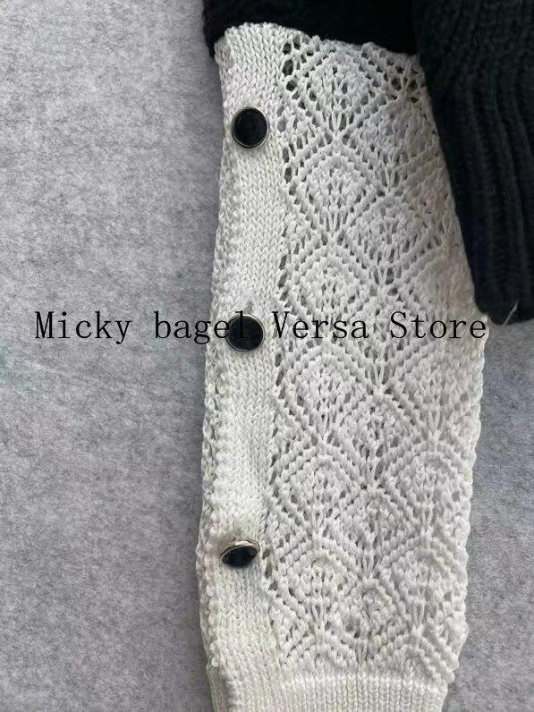 luxury brand black and white stitching printing fashion women's long sleeve temperament round neck versatile knitting Pullover enlarge