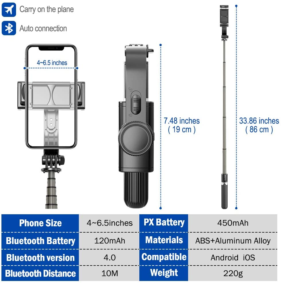 Gimbal Stabilizer, 360 Rotation Selfie Stick Tripod with Bluetooth Wireless Remote, Portable Phone Holder, Auto Balance enlarge