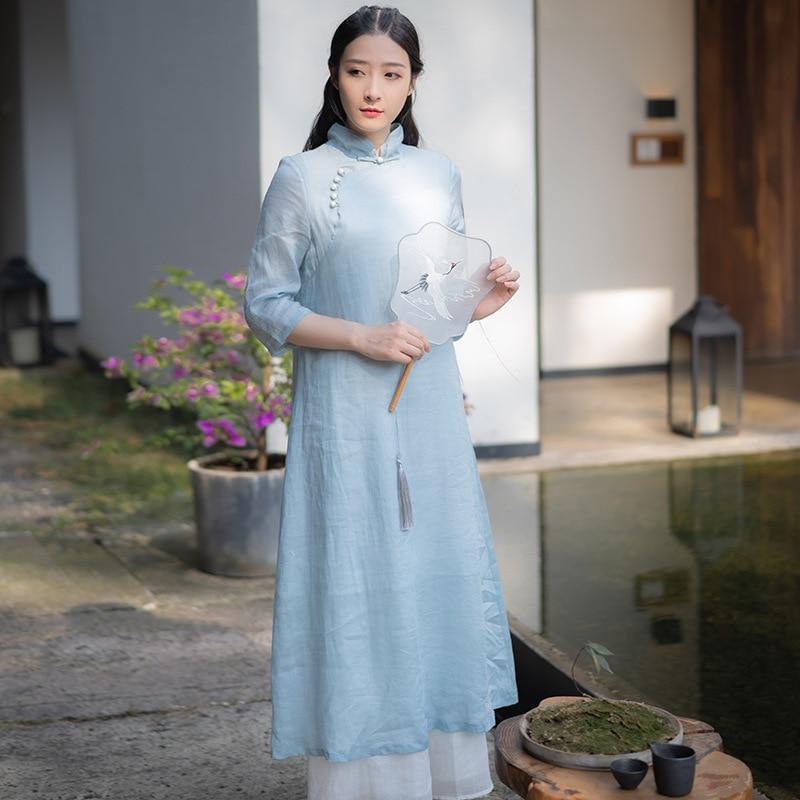 Современная китайская традиционная одежда hanfu, улучшенное платье Чонсам в стиле ретро, элегантные женские льняные платья Zen Tai Chi
