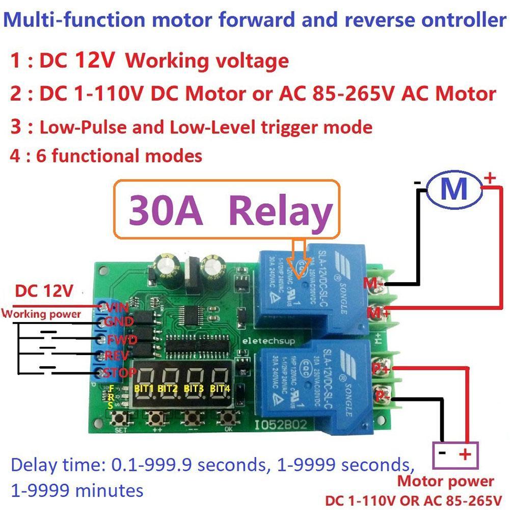 Многофункциональное реле управления двигателем постоянного тока/переменного тока 12 В 30 А, релейная плата, автоматическая задержка, цикл старта, модуль переключения
