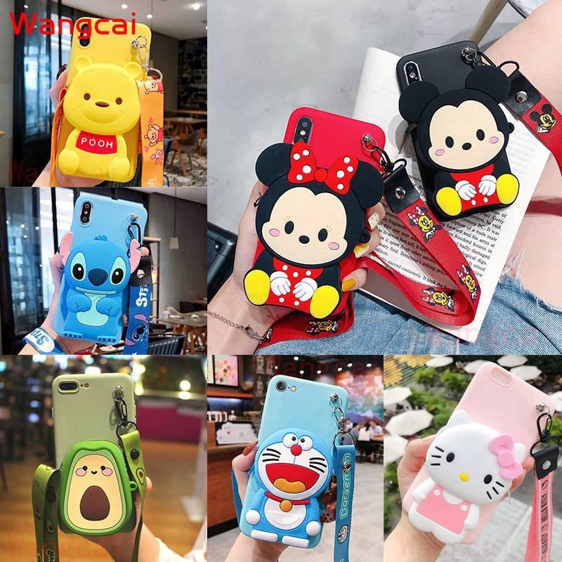 Zipper Wallet Stitch Case For Samsung Galaxy A50 A30s A50s A40 A20s A10s Case Mickey Doraemon Winnie the Pooh Coin Purse Cover