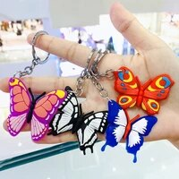 2020 new butterfly keychain insect animal pvc cartoon keychains men car women collocation bag pendant keyring kids girl boy gift