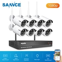sannce 1080p wireless video security system 1080p nvr outdoor weatherproof 1080p ip camera ai detection surveillance camera cctv