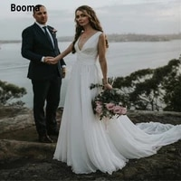 booma cheap chiffon beach wedding dresses double v neck lace up with button back boho simple white bridal gown with a train