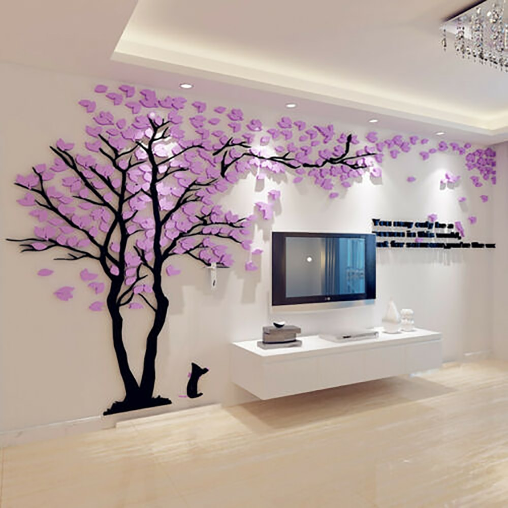 Pegatinas de pared 3d de árbol de amor creativo para sala de estar sofá TV Fondo autoadhesivo película izquierda y Righ decoración del hogar