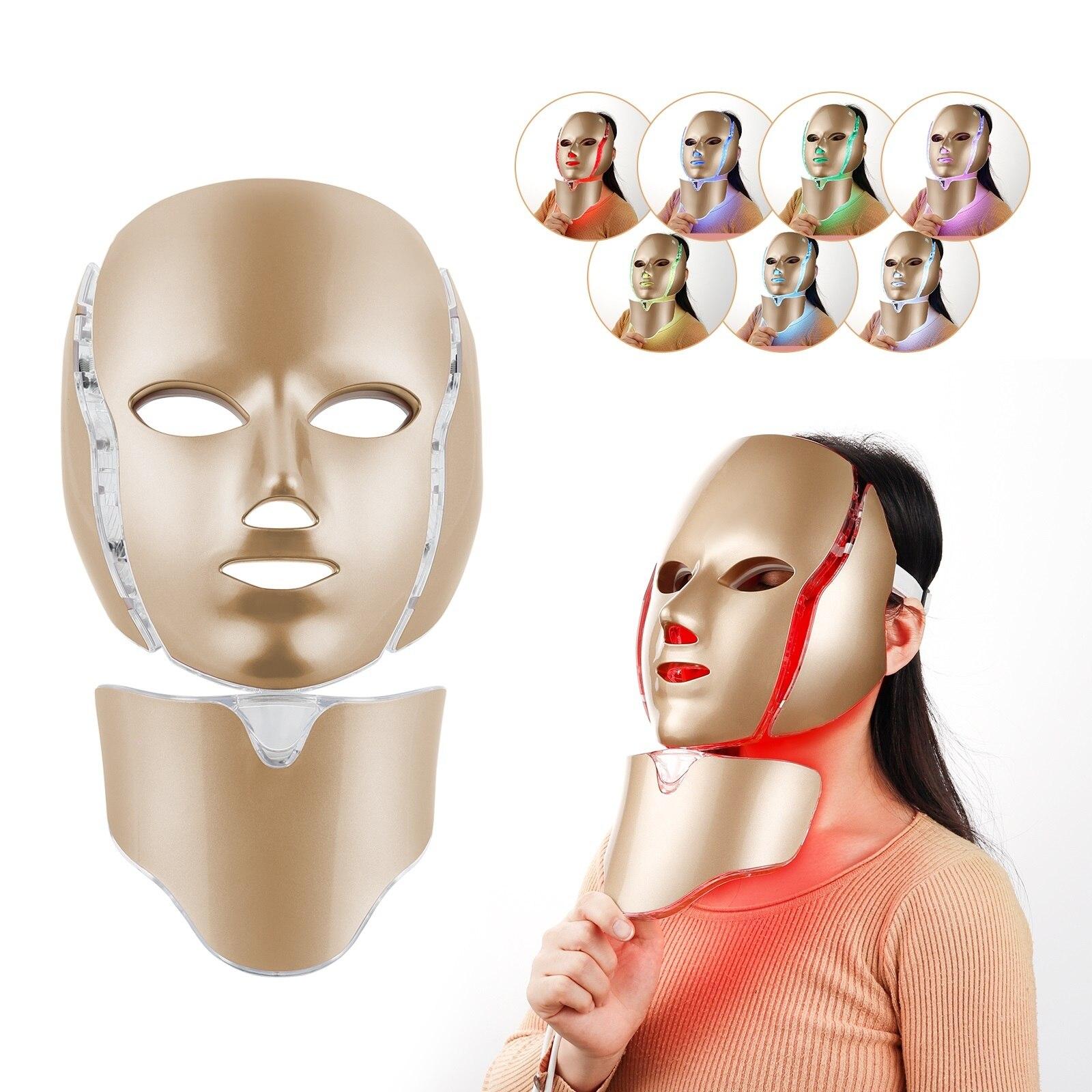 Facial Led Light Therapy Mask Anti Wrinkle Photorejuvenation Face Mask Brighten Spot Shrink Pores Beauty Machine Skin Tighten