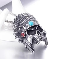 exaggerated indian chiefs skull head pendant necklace mens necklace crystal inlaid metal skull pendant accessories partyjewelry