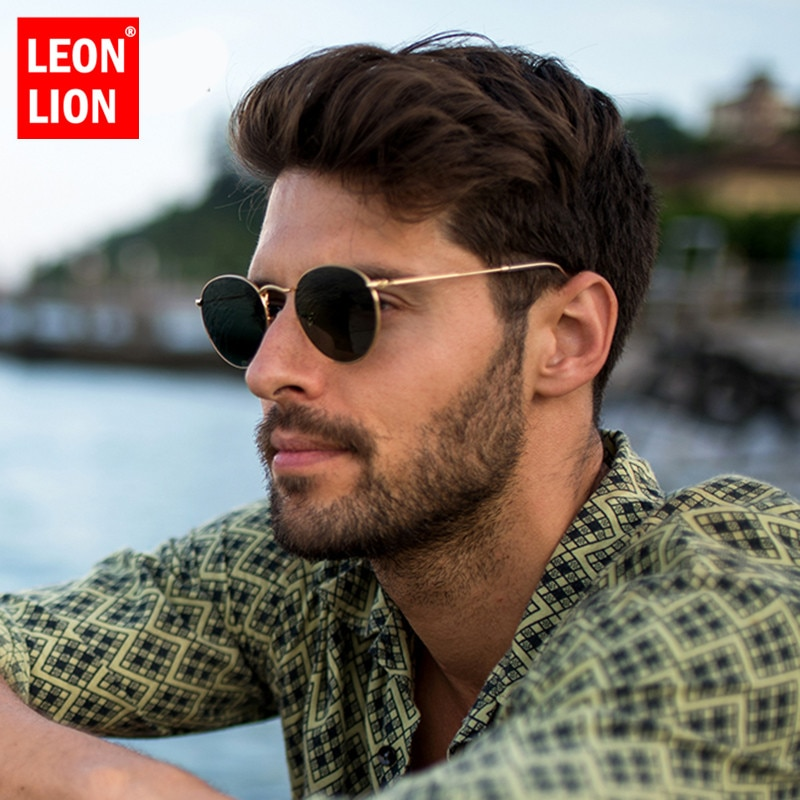 LeonLion 2021 Fashion Retro Sunglasses Men Round Vintage Glasses for Men/Women Luxury Sunglasses Men