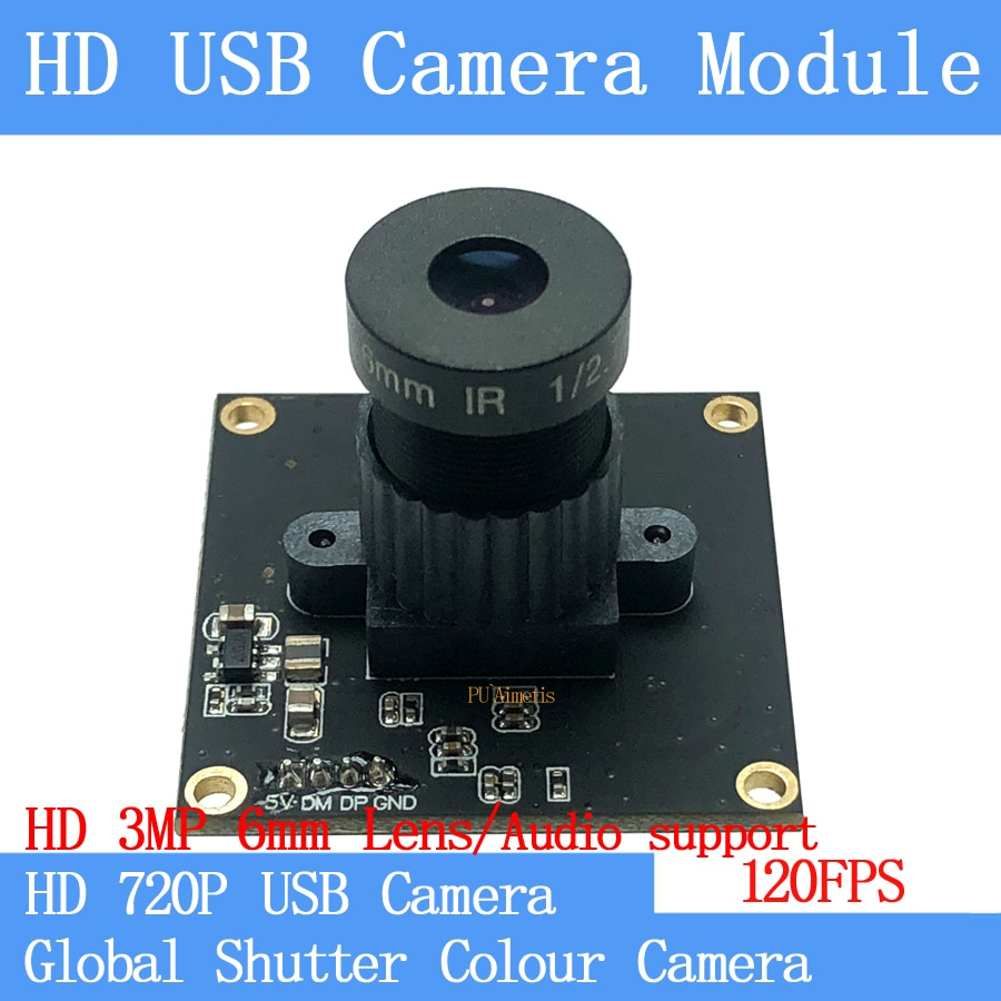 120FPS MJPEG Módulo de cámara USB color obturador Global de alta velocidad OTG UVC Linux USB 720P Mini cámara cctv de Audio soporte/3MP 6mm