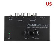 Предварительный усилитель для фонографа PP500 с регулятором громкости, выход RCA, выход 1/4 дюйма, выходные интерфейсы TRS для винилового проигрывателя LP