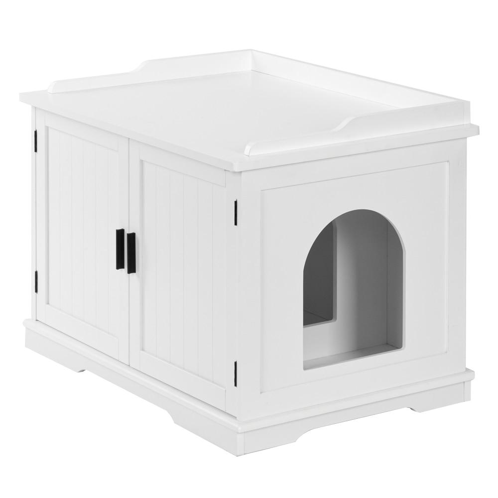 Cat Litter Box Enclosure Cabinet Furniture Wooden Indoor Storage Bench for Living Room Bedroom Bathroom Side Table with Pet Mat