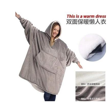 كنزة بغطاء للرأس للبالغين ، دافئة وسميكة ، أريكة تلفزيون ، جيب ، يمكن ارتداؤها في الهواء الطلق ، التنزه ، الشتاء