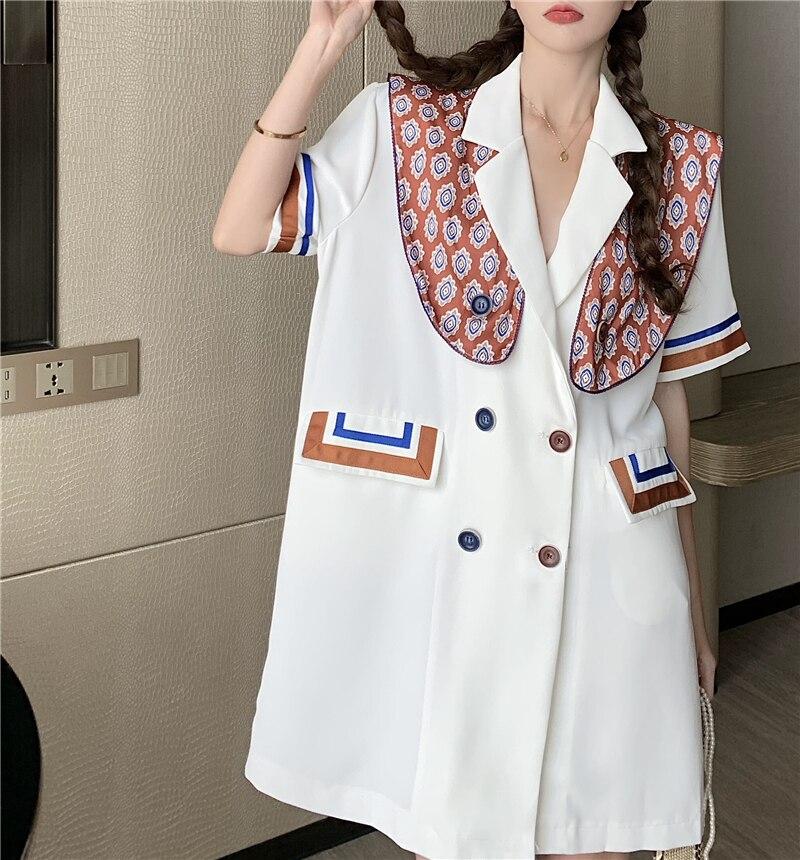 CMAZ 2021 summer dress for women white short sleeve double-breasted midi design fashion dress 3362#
