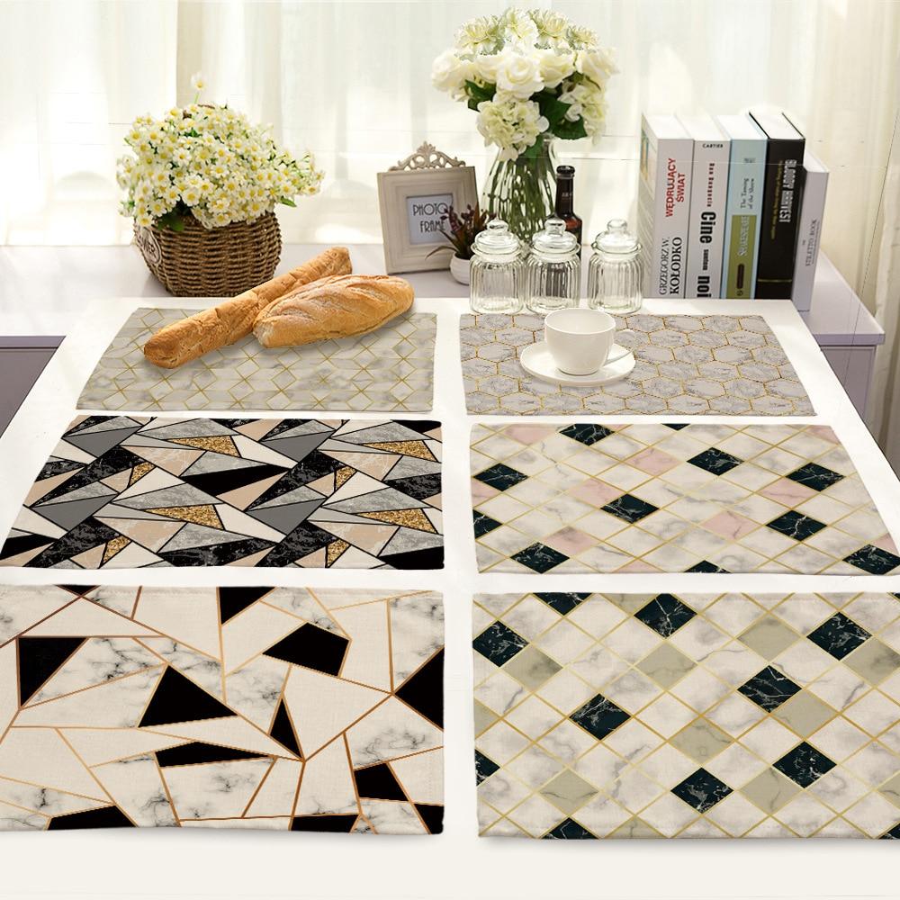 1Pcs Colorful Geometric Printed Kitchen Placemat Dining Table Mat Coaster Cotton Linen Pads Cup Mats 42*32cm Home Decor ML0001
