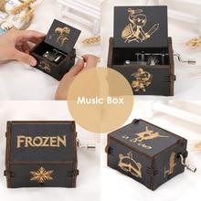 Vintage Music Box Engraved Wooden Music Box Hand Crank Clockwork Interesting Toys Kids Christmas Gif
