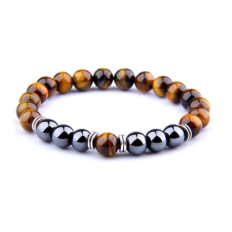 Natural preto obsidiana hematita tiger eye grânulos pulseira masculino proteção da saúde feminino jóias pulsera hombre yoga frisado pulseira