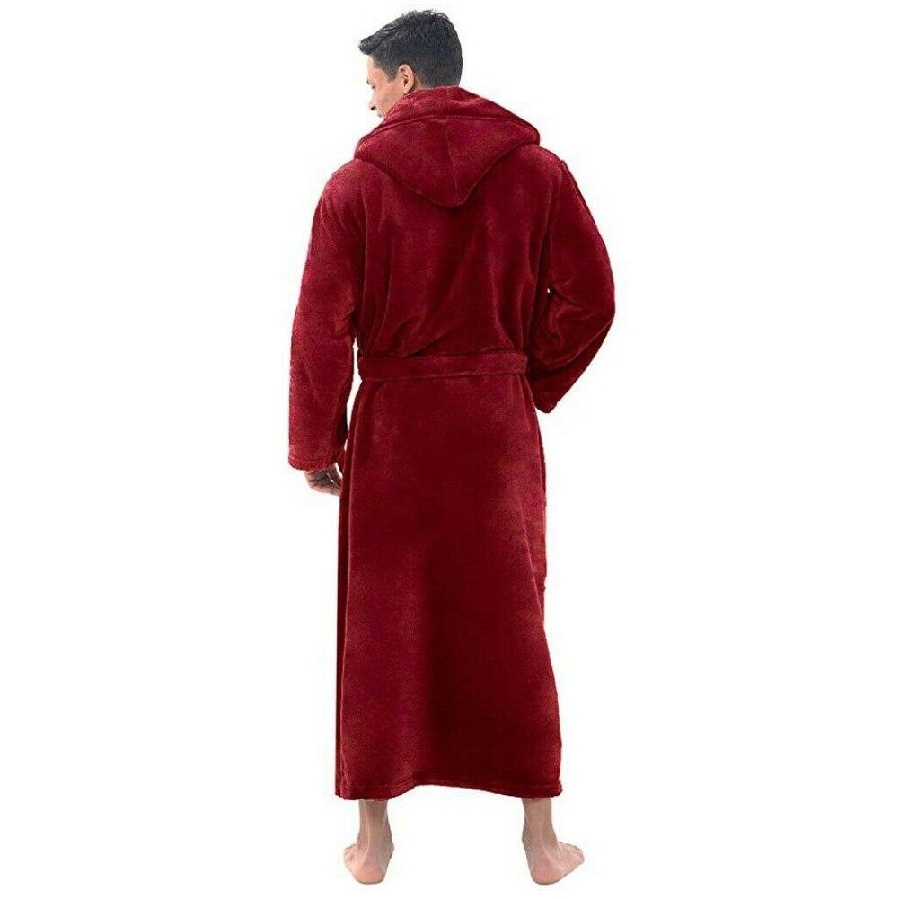 Мужчины мягкий флис однотонный цвет карманы длинные ванна халат дом платье одежда для сна